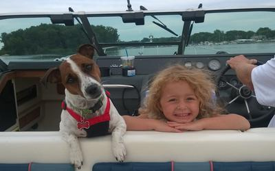 My 2 Best Girls are always together and  get the best seat on the boat