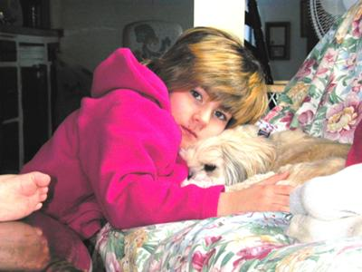 Grandaughter Carol with Mork On His Last Day